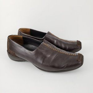 PAUL GREEN Brown Leather Square Toe Loafers 7.5